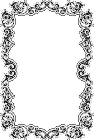 acanthus: Black baroque acanthus frame on white