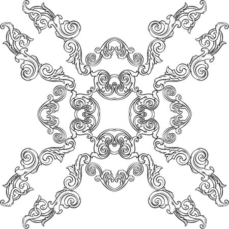 Victorian rosette is isolated on white
