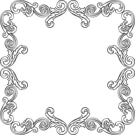 The retro victorian frame isolated on white