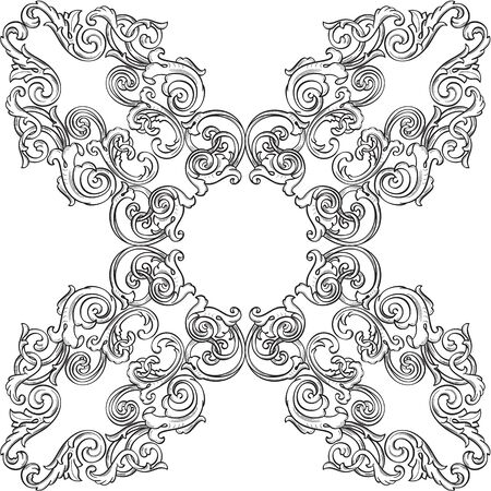 Victorian real ornate rosette isolated on white Stock Vector - 51456785