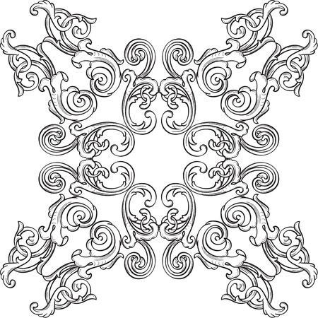 Retro art rosette element isolated on white Stock Vector - 51456791