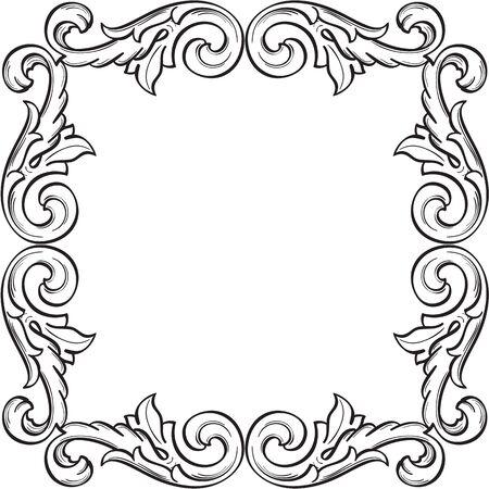 figuration: Vintage border isolated on white Illustration