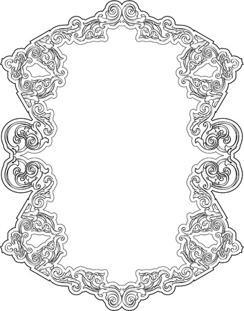 scroll tracery: Best greeting retro frame isolated on white