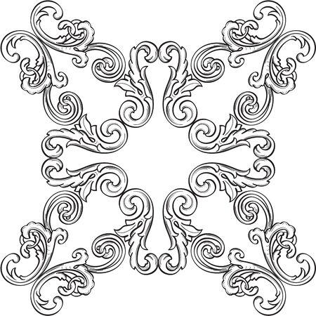 figuration: Retro fine rosette is on white Illustration