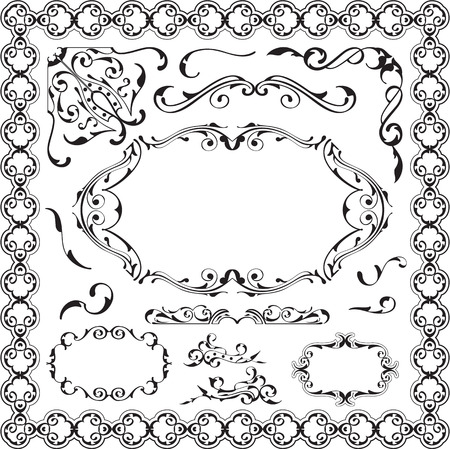 scroll tracery: Art ornament luxury set isolated on white Illustration