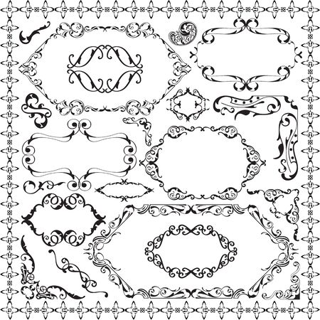 scroll tracery: Retro ornate design set isolated on white