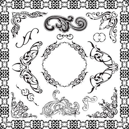 figuration: Art baroque graphic art set is on white Illustration