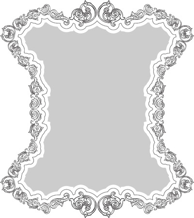 florid: Victorian greeting retro frame isolated on white