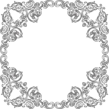 florid: Frame with luxury elements isolated on white