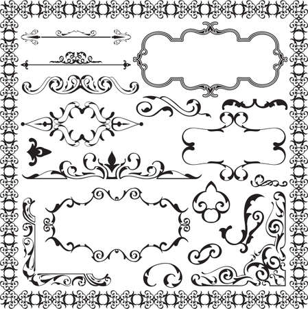 scroll tracery: Baroque art set isolated on white