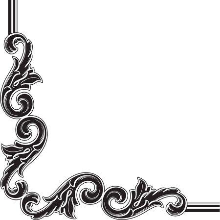figuration: Vintage corner element isolated on white Stock Photo