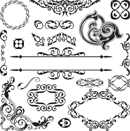 scroll tracery: Art baroque ornate set isolated on white