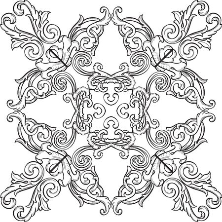 florid: Victorian real ornate art rosette isolated on white Stock Photo