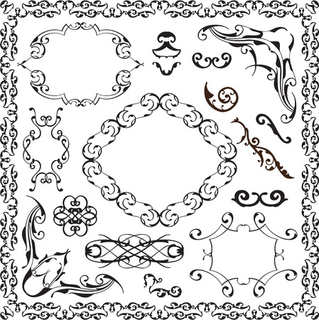 florid: Ornate baroque graphic art set isolated on white Stock Photo