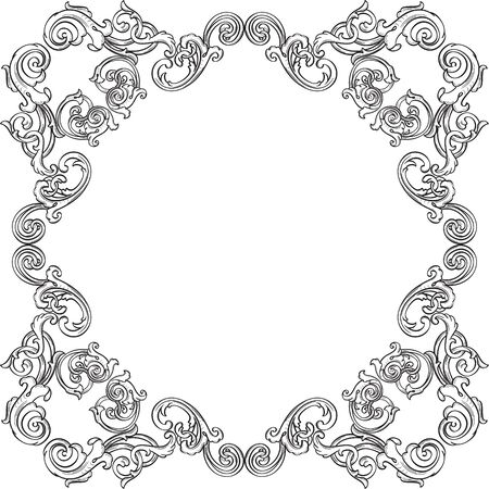 florid: Orient real ornate art frame is on white