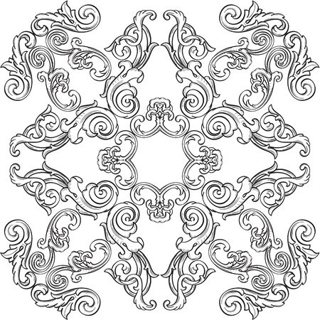 scroll tracery: Luxury nice rosette is isolated on white