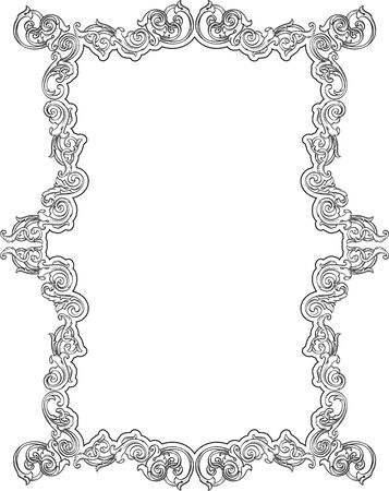 scroll tracery: Real victorian retro nice art page isolated on white
