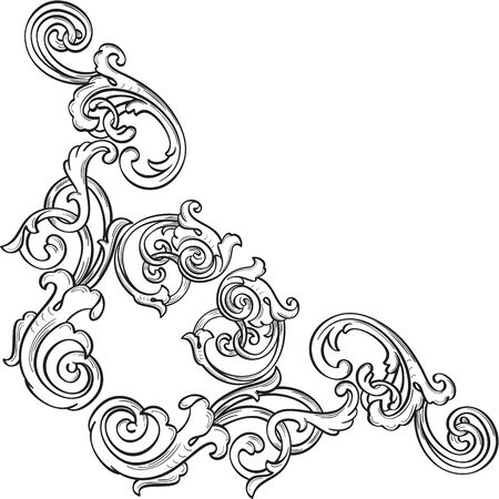 scroll tracery: Orient real ornate art corner is on white Stock Photo