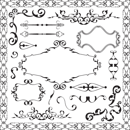 scroll tracery: Ornament luxury set is isolated on white Stock Photo