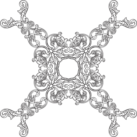 florid: Luxury baroque rosette isolated on white Stock Photo