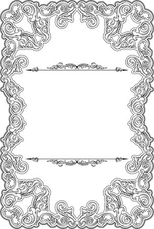 scroll tracery: Vintage baroque greeting page isolated on white Stock Photo