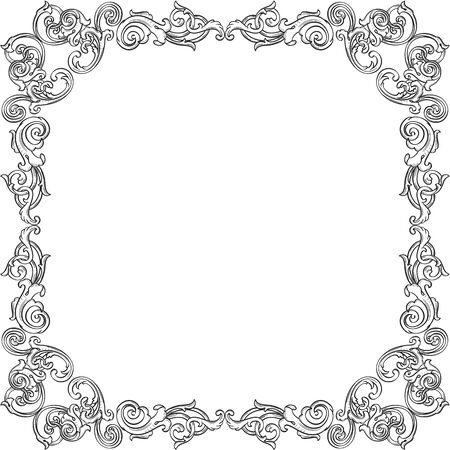 figuration: Vintage art frame isolated on white