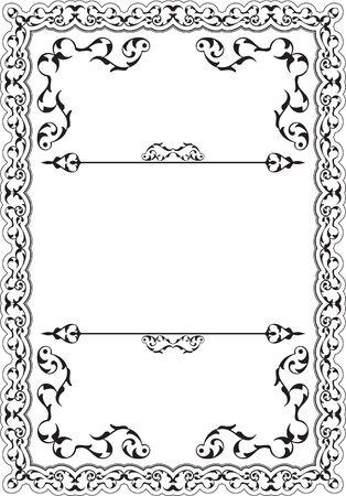 figuration: Retro decor nice frame isolated on white Illustration