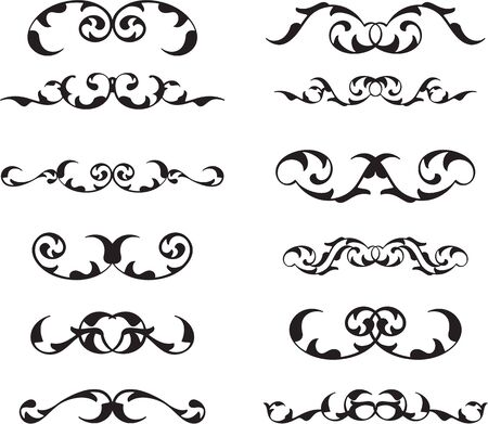 figuration: Divide retro baroque art set isolated on white