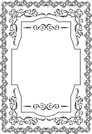florid: Greeting calligraphic board in victorian style on white Illustration