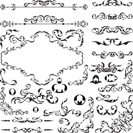 florid: Fine remarkable retro design set is on white Illustration