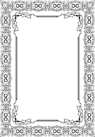 florid: Fine vintage greeting frame isolated on white Illustration