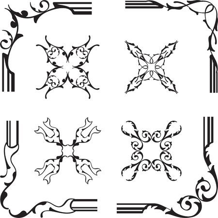 florid: Fine vintage design corner elements set isolated on white