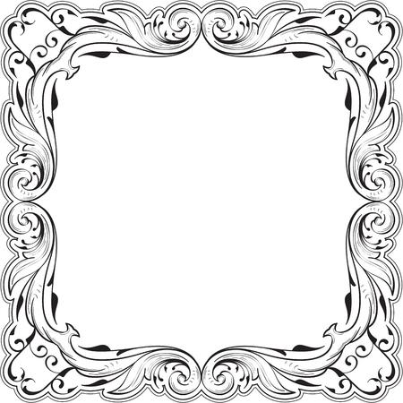 florid: Decor fine art swirl greeting frame on white