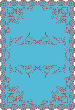 florid: Nice blue baroque decor swirl art ornate page