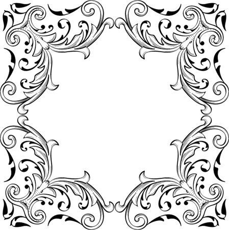 fine art: Baroque fine art swirl page is on white Illustration