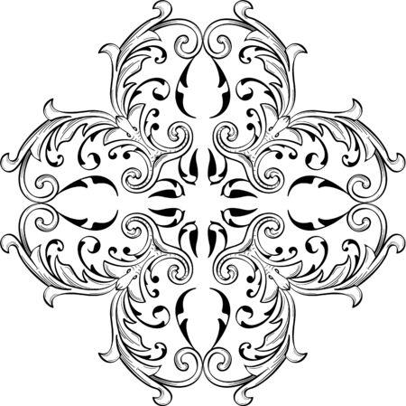 fine art: Baroque fine art swirl rosette is on white