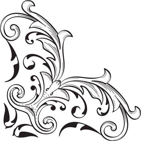 Fine corner art baroque swirl element on white Stock Vector - 66532213