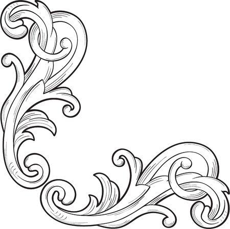 Decor element for corner isolated on white