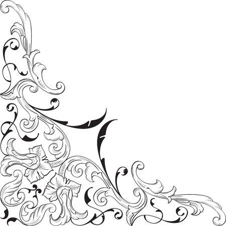 florid: Ornate corner art nice element on white