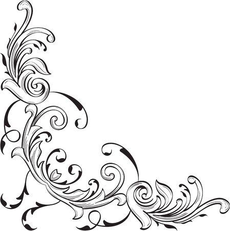 florid: The decor nice corner art element on white