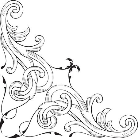 Corner element in baroque style on white Stock Vector - 66542157