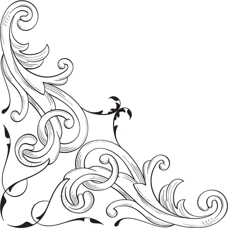Corner element in baroque style on white Illustration