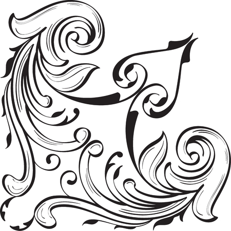 Fine corner art luxury swirl element on white Stock Vector - 66560172