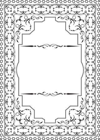 pattern antique: Vintage ornament decor frame on white