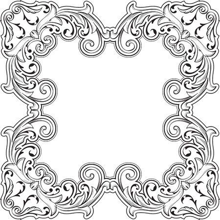 fine art: Decor fine art swirl border on white