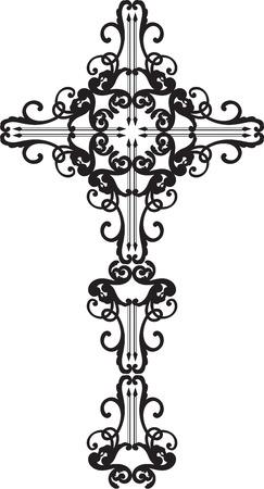 Overladen barok zwart kruis op wit