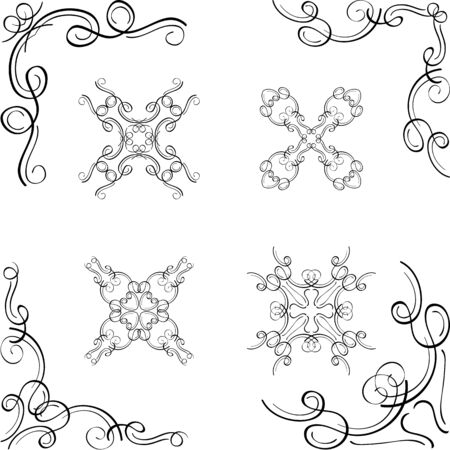 swirl: Luxury swirl design corner elements on white Illustration