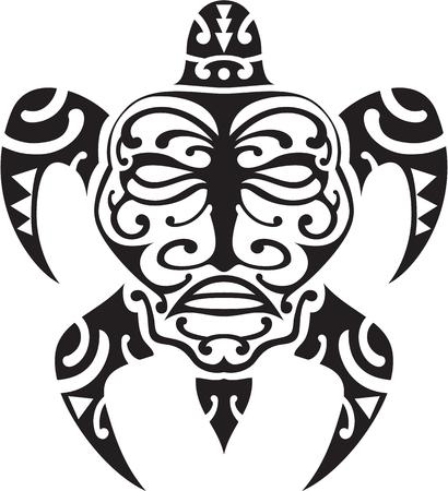 tahiti: Maori turtle tattoo design on white