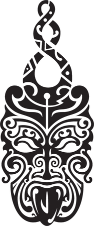 Maori style mask with hook for tattoo