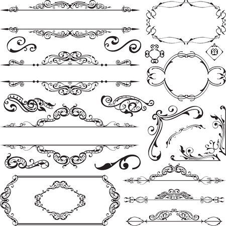 Ornament ornane ontwerpelementen instellen om wit